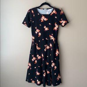 Lularoe Amelia black and floral dress sz sm